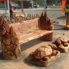 Wooden Bench and Turtles Carving